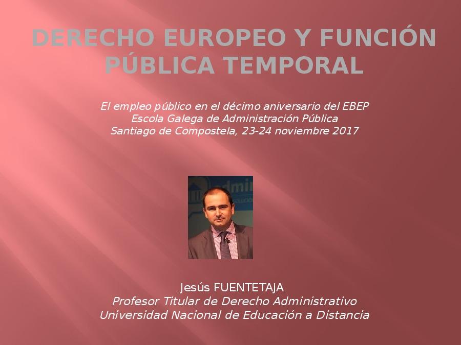 Dereito europeo e función pública temporal